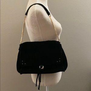 sole society shoulder suede bag in black